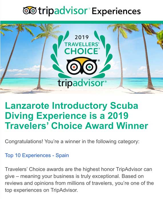 Manta Diving Lanzarote won Tripadvisor's Travelers' Choice Award 2019