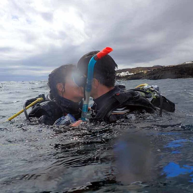 Jonas on his PADI open water course with Manta Diving Lanzarote